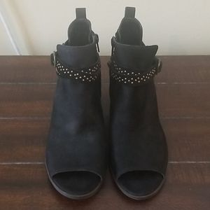 Lucky Brand Black Studded Open Toe Booties Size 8